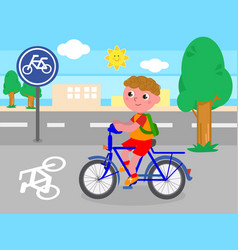 biker boy on bicycle lane vector image vector image