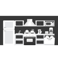 Black white color kitchen interior vector
