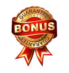 bonus guarantee golden label with ribbon vector image