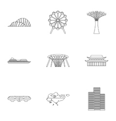 Country singapore icons set outline style vector