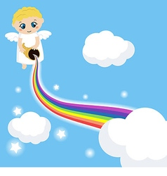 Cute angel in the sky with rainbow vector image vector image