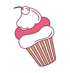 delicious cupcake with cherry vector image