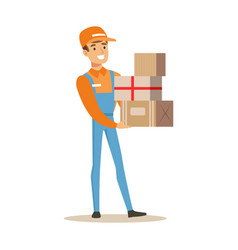 Delivery service worker in dungarees holding pile vector