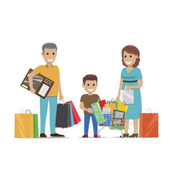 family making purchases in supermarket flat vector image