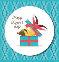 Fathers day card with gift celebration vector