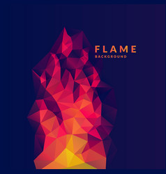 Flame polygonal object in the dark background vector