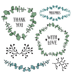 floral design set with eucalyptus leaves frames vector image