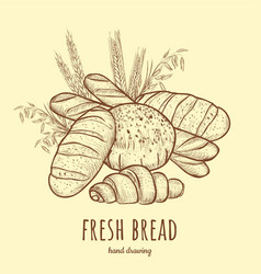 fresh bread bakery products vector image