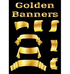 Golden banners set vector