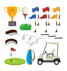 golf icons set golf accessories cup flag vector image vector image