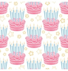 Hand drawn birthday cake seamless pattern vector