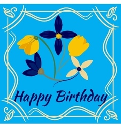 Happy birthday card with flower frame vector image vector image