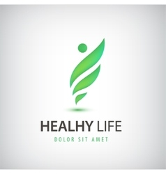 Healthy life man eco leaves logo icon vector