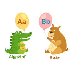 Isolated alphabet letter a-alligatorb-bear vector