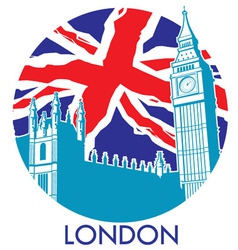 London big ben with union jack flag background vector