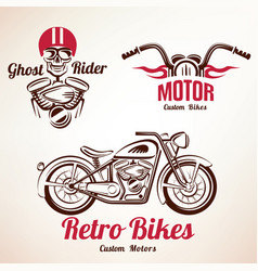 motorbikes emblems and labels set retro motorcycle vector image