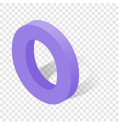 O letter in isometric 3d style with shadow vector