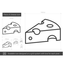 Piece of cheese line icon vector