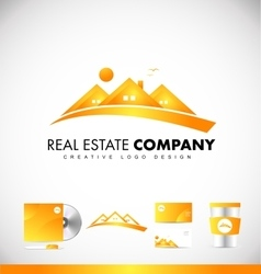 Real estate yellow house logo icon design vector