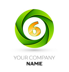 realistic number six logo in the colorful circle vector image vector image