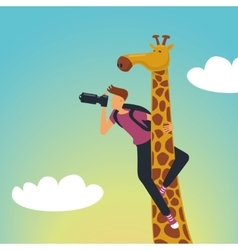 Safari Photographer with a giraffe vector image vector image
