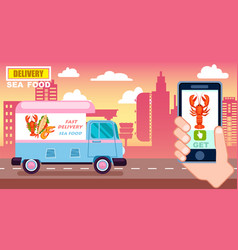 sea food delivery poster with commercial van vector image vector image