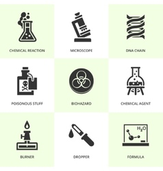 Set of black chemistry icons vector image vector image