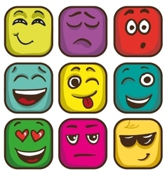 Set of colorful emoticons square emoji flat vector