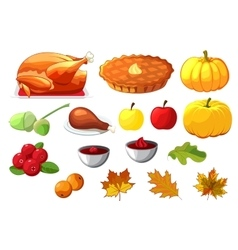 Set of element for Happy Thanksgiving Day on white vector image vector image