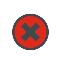 Sign of cross in circle icon flat style vector
