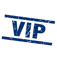 Square grunge blue vip stamp vector