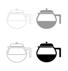 Teapot icon the black and grey color set icon vector