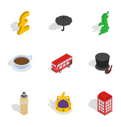 travel to london icons isometric 3d style vector image vector image
