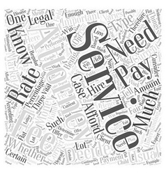 Understanding attorney services fees word cloud vector
