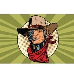 Wild west bandit robot steampunk vector