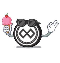With ice cream tenx coin character cartoon vector