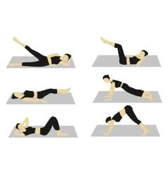 Woman doing workout set vector