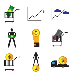 Modern collection flat icons with shadow economics vector