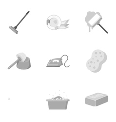 Cleaning set icons in monochrome style Big vector image