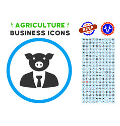 Pig boss rounded icon with set vector