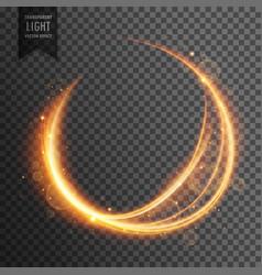 Circular golden lens flare transparent light vector