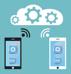 Cloud technology white and black smart phone vector