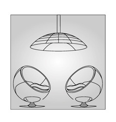 Interior design- egg chair with lighting vector