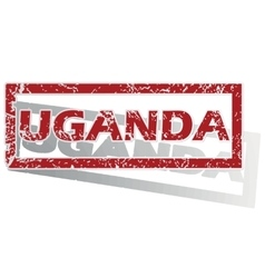 Uganda outlined stamp vector