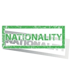 Green outlined nationality stamp vector