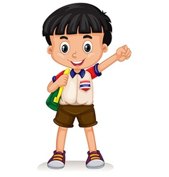 Thai boy carrying a backpack vector