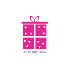 Happy birthday gift pink vector