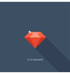 Flat diamond with shadow vector image