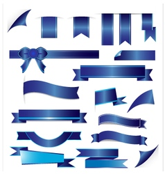 Blue ribbons set isolated on white background vector