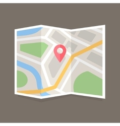 Flat map icon vector